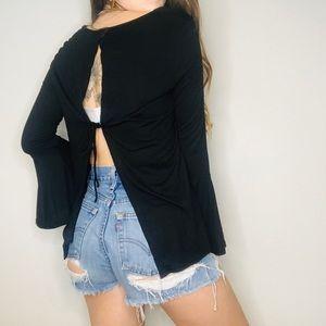 NWT Lulu's black open back long bell sleeve
